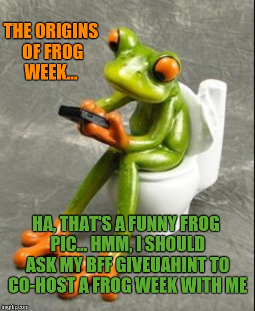 How it all started! lol Frog Week, June 4-10, a JBmemegeek & giveuahint event! | HA, THAT'S A FUNNY FROG PIC... HMM, I SHOULD ASK MY BFF GIVEUAHINT TO CO-HOST A FROG WEEK WITH ME THE ORIGINS OF FROG WEEK... | image tagged in frog on toilet,frog week,jbmemegeek,giveuahint,frogs,funny animals | made w/ Imgflip meme maker