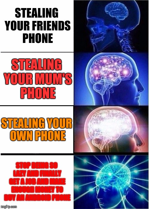 Expanding Brain Meme | STEALING YOUR FRIENDS PHONE STEALING YOUR MUM'S PHONE STEALING YOUR OWN PHONE STOP BEING SO LAZY AND FINALLY GET A JOB AND MAKE ENOUGH MONEY | image tagged in memes,expanding brain | made w/ Imgflip meme maker