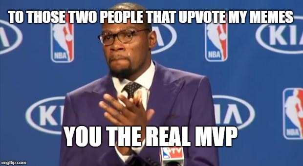 You The Real MVP Meme | TO THOSE TWO PEOPLE THAT UPVOTE MY MEMES YOU THE REAL MVP | image tagged in memes,you the real mvp | made w/ Imgflip meme maker
