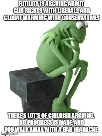 FUTILITY IS ARGUING ABOUT GUN RIGHTS WITH LIBERALS AND GLOBAL WARMING WITH CONSERVATIVES THERE'S LOT'S OF CHILDISH ARGUING, NO PROGRESS IS M | image tagged in philosophy kermit | made w/ Imgflip meme maker