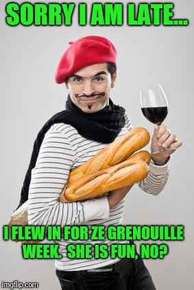 Im surprised nobody went there for frog week | SORRY I AM LATE... I FLEW IN FOR ZE GRENOUILLE WEEK.  SHE IS FUN, NO? | image tagged in french | made w/ Imgflip meme maker