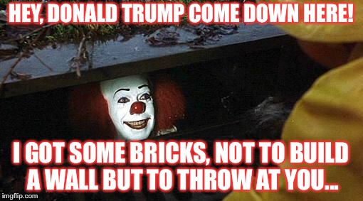 pennywise | HEY, DONALD TRUMP COME DOWN HERE! I GOT SOME BRICKS, NOT TO BUILD A WALL BUT TO THROW AT YOU... | image tagged in pennywise | made w/ Imgflip meme maker