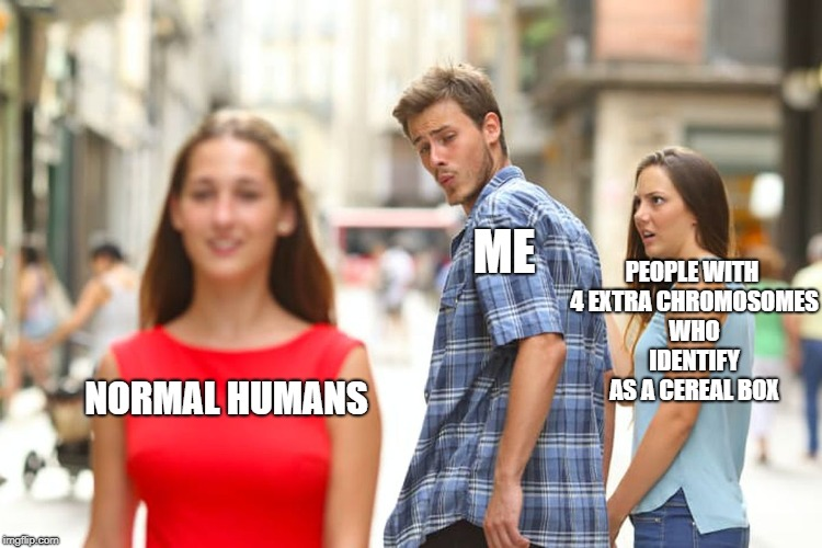 Distracted Boyfriend Meme | NORMAL HUMANS ME PEOPLE WITH 4 EXTRA CHROMOSOMES WHO IDENTIFY AS A CEREAL BOX | image tagged in memes,distracted boyfriend | made w/ Imgflip meme maker