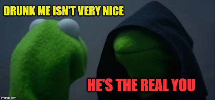 Evil Kermit Meme | DRUNK ME ISN'T VERY NICE HE'S THE REAL YOU | image tagged in memes,evil kermit | made w/ Imgflip meme maker