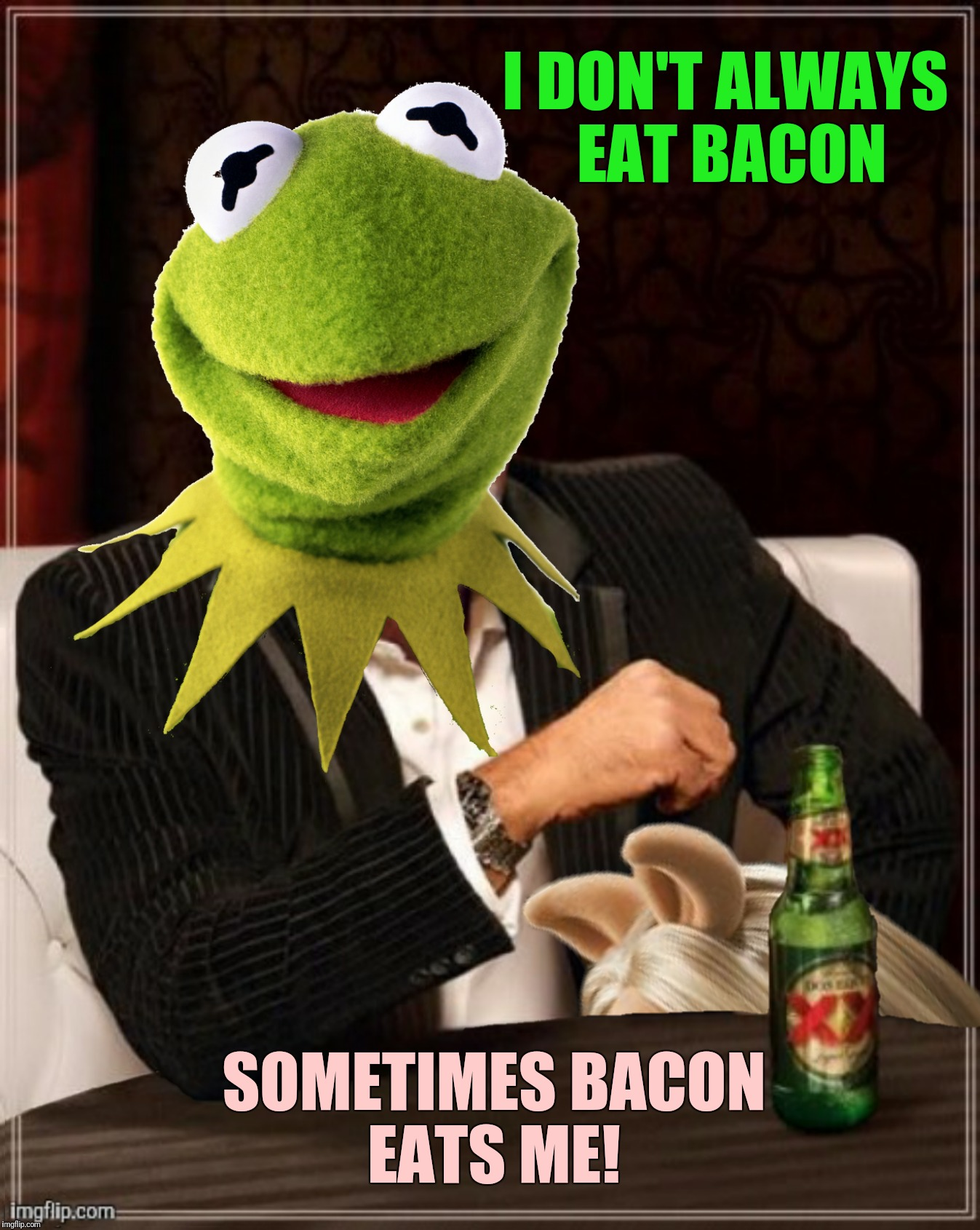 A resubmission suggested by Phantasmemegoric.  Bad Photoshop Sunday meets Frog Week June 4-10, a JBmemegeek & giveuahint event | I DON'T ALWAYS EAT BACON SOMETIMES BACON EATS ME! | image tagged in bad photoshop sunday,frog week,the most interesting man in the world,the most interesting frog in the world,miss piggy | made w/ Imgflip meme maker