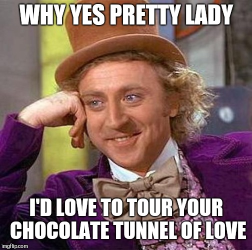 Creepy Condescending Wonka Meme | WHY YES PRETTY LADY I'D LOVE TO TOUR YOUR CHOCOLATE TUNNEL OF LOVE | image tagged in memes,creepy condescending wonka | made w/ Imgflip meme maker
