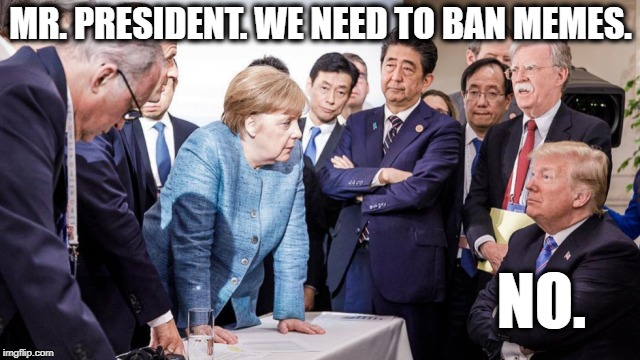 It's too bad the picture is photoshopped. | MR. PRESIDENT. WE NEED TO BAN MEMES. NO. | image tagged in donald trump approves,trump,angela merkel,germany,political meme | made w/ Imgflip meme maker