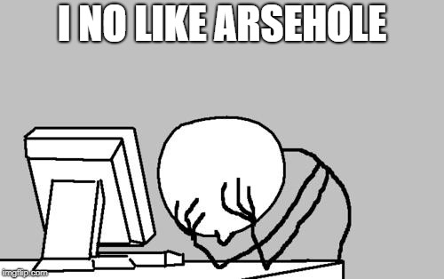 Computer Guy Facepalm Meme | I NO LIKE ARSEHOLE | image tagged in memes,computer guy facepalm | made w/ Imgflip meme maker