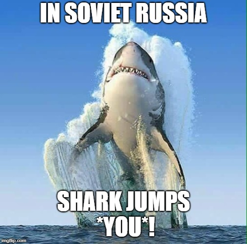 IN SOVIET RUSSIA SHARK JUMPS *YOU*! | image tagged in shark jumping | made w/ Imgflip meme maker