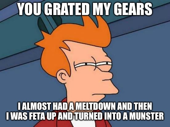 Futurama Fry Meme | YOU GRATED MY GEARS I ALMOST HAD A MELTDOWN AND THEN I WAS FETA UP AND TURNED INTO A MUNSTER | image tagged in memes,futurama fry | made w/ Imgflip meme maker
