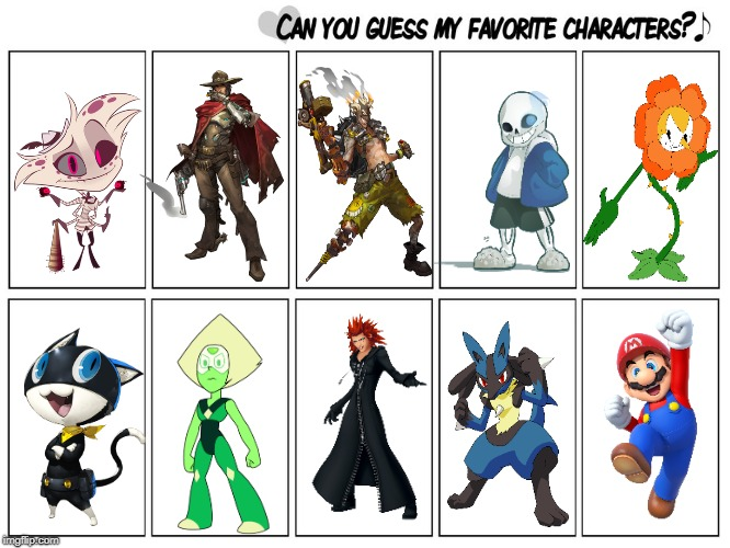 Can you guess HazbinHotel@imgflip's favorite characters? | image tagged in pokemon,kingdom hearts,cuphead,hazbin hotel,overwatch,steven universe | made w/ Imgflip meme maker