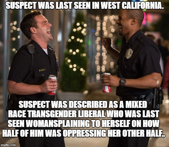 SUSPECT WAS LAST SEEN IN WEST CALIFORNIA. SUSPECT WAS DESCRIBED AS A MIXED RACE TRANSGENDER LIBERAL WHO WAS LAST SEEN WOMANSPLAINING TO HERS | image tagged in lets be cops | made w/ Imgflip meme maker