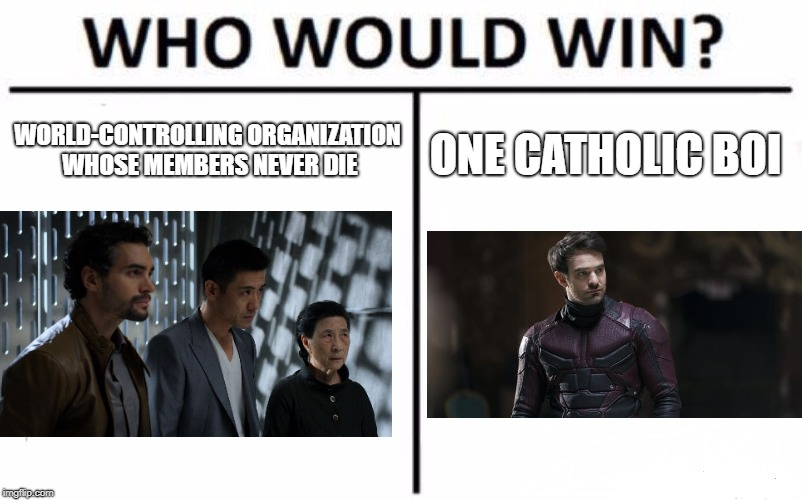 The Plot of Defenders, Summarized | WORLD-CONTROLLING ORGANIZATION WHOSE MEMBERS NEVER DIE ONE CATHOLIC BOI | image tagged in memes,who would win,marvel cinematic universe,daredevil,marvel | made w/ Imgflip meme maker