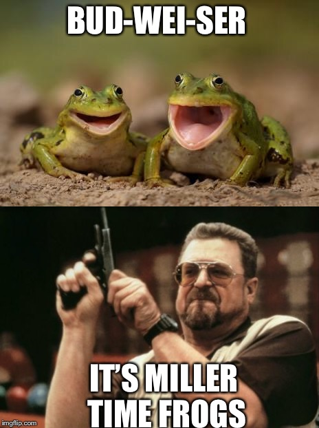 One more frog joke | BUD-WEI-SER IT'S MILLER TIME FROGS | image tagged in frog week,jokes,frog,funny memes | made w/ Imgflip meme maker