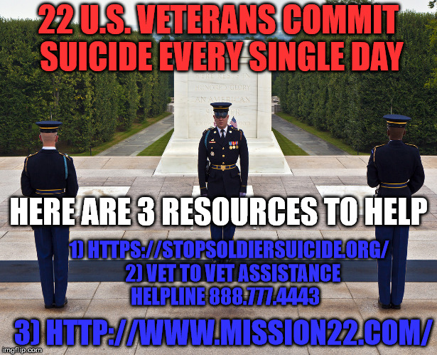 All gave some and some gave all. Please help our veterans by providing those in need with these resources. | 22 U.S. VETERANS COMMIT SUICIDE EVERY SINGLE DAY HERE ARE 3 RESOURCES TO HELP 1) HTTPS://STOPSOLDIERSUICIDE.ORG/  2) VET TO VET ASSISTANCE H | image tagged in united state,army,navy,air force,marines,coast guard | made w/ Imgflip meme maker