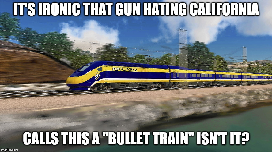 "IT'S IRONIC THAT GUN HATING CALIFORNIA CALLS THIS A ""BULLET TRAIN"" ISN'T IT? 