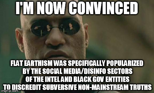 Matrix Morpheus Meme | I'M NOW CONVINCED FLAT EARTHISM WAS SPECIFICALLY POPULARIZED BY THE SOCIAL MEDIA/DISINFO SECTORS OF THE INTEL AND BLACK GOV ENTITIES TO DISC | image tagged in memes,matrix morpheus | made w/ Imgflip meme maker
