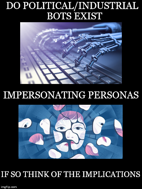 Do They | DO POLITICAL/INDUSTRIAL  BOTS EXIST IF SO THINK OF THE IMPLICATIONS IMPERSONATING PERSONAS | image tagged in bots,persona,implications,internet,mass manipulation,political control | made w/ Imgflip meme maker