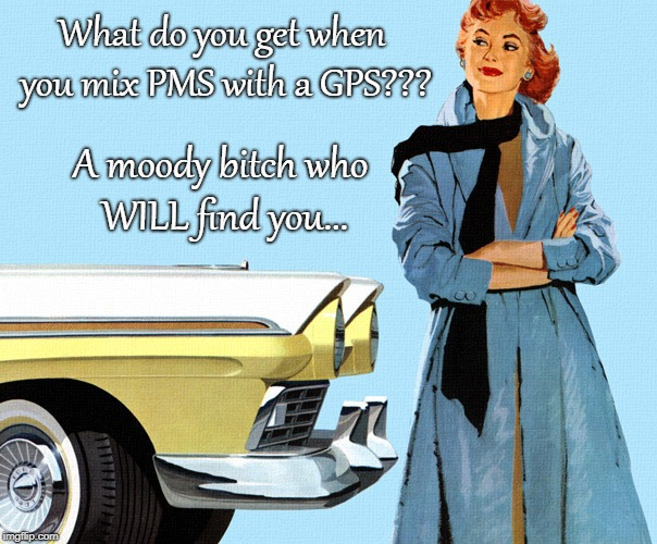 What do you get??? | What do you get when you mix PMS with a GPS??? A moody b**ch who WILL find you... | image tagged in pms,gps,moody | made w/ Imgflip meme maker