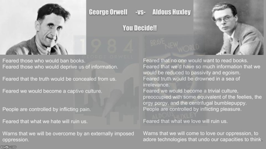 1984 vs BNW from Neil Postman | image tagged in huxley,orwell,1984,society,postman | made w/ Imgflip meme maker