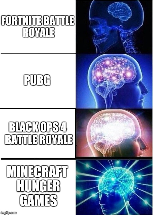 Expanding Brain Meme | FORTNITE BATTLE ROYALE PUBG BLACK OPS 4 BATTLE ROYALE MINECRAFT HUNGER GAMES | image tagged in memes,expanding brain | made w/ Imgflip meme maker