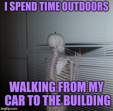 Social anxiety skeleton | I SPEND TIME OUTDOORS WALKING FROM MY CAR TO THE BUILDING | image tagged in skeleton waiting,skeleton looking out window | made w/ Imgflip meme maker