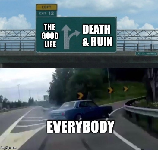 Left Exit 12 Off Ramp Meme | THE GOOD LIFE EVERYBODY DEATH & RUIN | image tagged in memes,left exit 12 off ramp | made w/ Imgflip meme maker