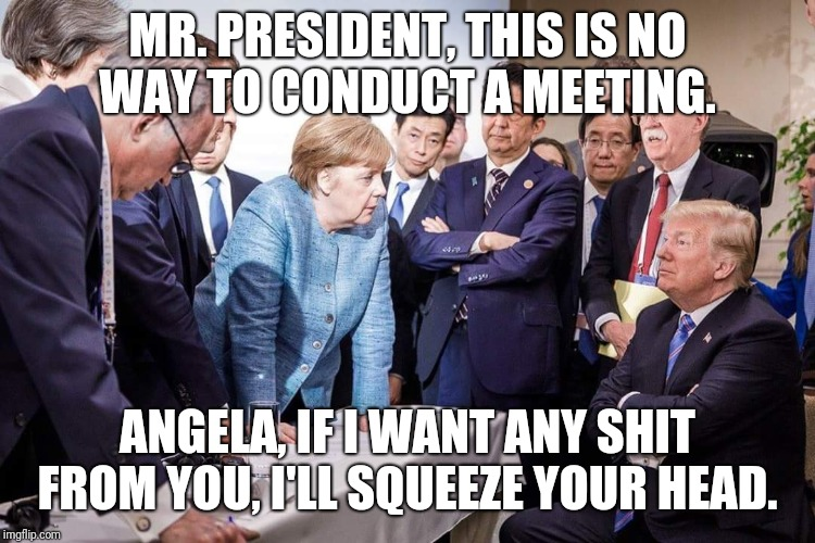 G7 summit behind closed doors | MR. PRESIDENT, THIS IS NO WAY TO CONDUCT A MEETING. ANGELA, IF I WANT ANY SHIT FROM YOU, I'LL SQUEEZE YOUR HEAD. | image tagged in memes | made w/ Imgflip meme maker
