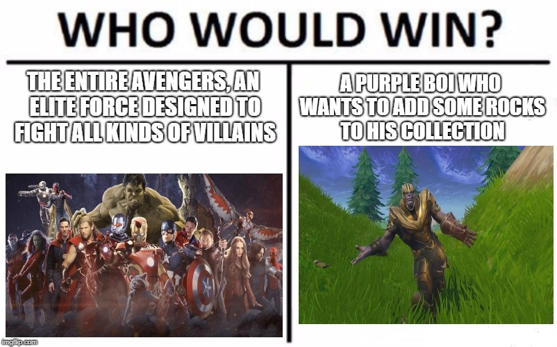 It's a close call! | THE ENTIRE AVENGERS, AN ELITE FORCE DESIGNED TO FIGHT ALL KINDS OF VILLAINS A PURPLE BOI WHO WANTS TO ADD SOME ROCKS TO HIS COLLECTION | image tagged in memes,who would win,thanos,avengers infinity war | made w/ Imgflip meme maker