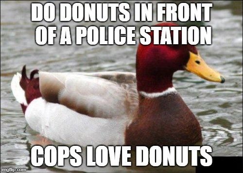 Malicious Advice Mallard Meme | DO DONUTS IN FRONT OF A POLICE STATION COPS LOVE DONUTS | image tagged in memes,malicious advice mallard | made w/ Imgflip meme maker
