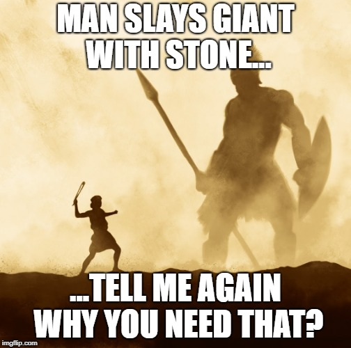 come and take them | MAN SLAYS GIANT WITH STONE... ...TELL ME AGAIN WHY YOU NEED THAT? | image tagged in defend yourself | made w/ Imgflip meme maker