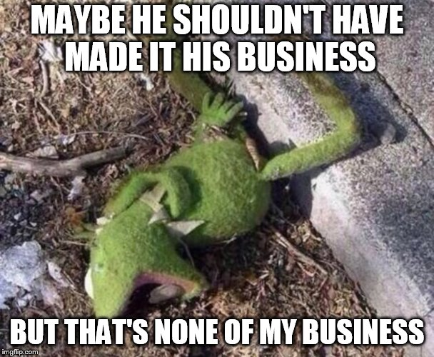 Almost missed frog week. But that's none of your business. | MAYBE HE SHOULDN'T HAVE MADE IT HIS BUSINESS BUT THAT'S NONE OF MY BUSINESS | image tagged in kermit the frog,frog week,but thats none of my business | made w/ Imgflip meme maker