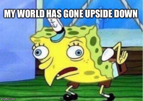 Mocking Spongebob Meme | MY WORLD HAS GONE UPSIDE DOWN | image tagged in memes,mocking spongebob | made w/ Imgflip meme maker