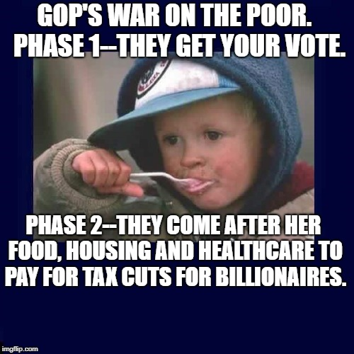 GOP'S WAR ON THE POOR.  PHASE 1--THEY GET YOUR VOTE. PHASE 2--THEY COME AFTER HER FOOD, HOUSING AND HEALTHCARE TO PAY FOR TAX CUTS FOR BILLI | image tagged in poor child | made w/ Imgflip meme maker
