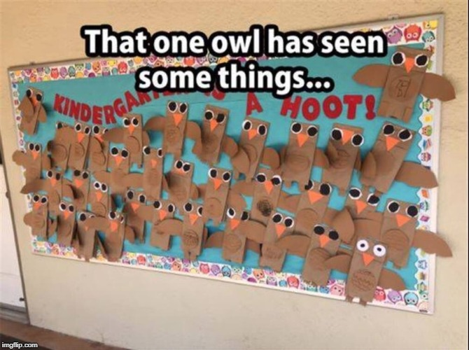 Kindergarten can be rough... | image tagged in memes,philosoraptor,excited owls | made w/ Imgflip meme maker