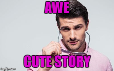 pink shirt | AWE CUTE STORY | image tagged in pink shirt | made w/ Imgflip meme maker