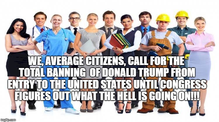 WE, AVERAGE CITIZENS, CALL FOR THE TOTAL BANNING  OF DONALD TRUMP FROM ENTRY TO THE UNITED STATES UNTIL CONGRESS FIGURES OUT WHAT THE HELL I | image tagged in workers | made w/ Imgflip meme maker
