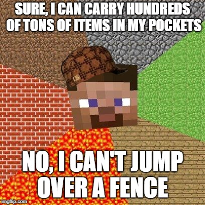 Minecraft Guy | SURE, I CAN CARRY HUNDREDS OF TONS OF ITEMS IN MY POCKETS NO, I CAN'T JUMP OVER A FENCE | image tagged in minecraft guy,scumbag | made w/ Imgflip meme maker