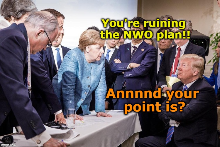 Trump destroying NWO |  You're ruining the NWO plan!! Annnnd your point is? | image tagged in trump g7,nwo police state,new world order,maga | made w/ Imgflip meme maker