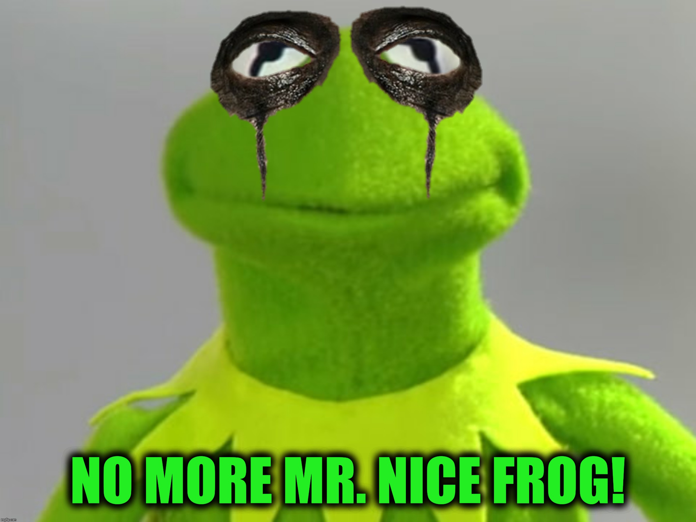 My frog bit me on the leg today...Bad Photoshop Sunday meets Frog Week June 4-10, a JBmemegeek  & giveuahint event  |  NO MORE MR. NICE FROG! | image tagged in bad photoshop sunday,frog week,alice cooper,kermit the frog | made w/ Imgflip meme maker