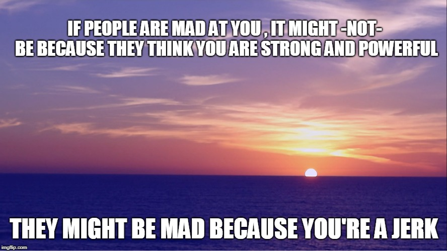 IF PEOPLE ARE MAD AT YOU , IT MIGHT -NOT- BE BECAUSE THEY THINK YOU ARE STRONG AND POWERFUL; THEY MIGHT BE MAD BECAUSE YOU'RE A JERK | image tagged in jerk | made w/ Imgflip meme maker