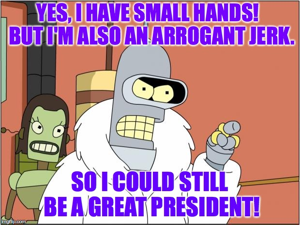 Don't think it couldn't happen! | YES, I HAVE SMALL HANDS!  BUT I'M ALSO AN ARROGANT JERK. SO I COULD STILL BE A GREAT PRESIDENT! | image tagged in memes,bender | made w/ Imgflip meme maker