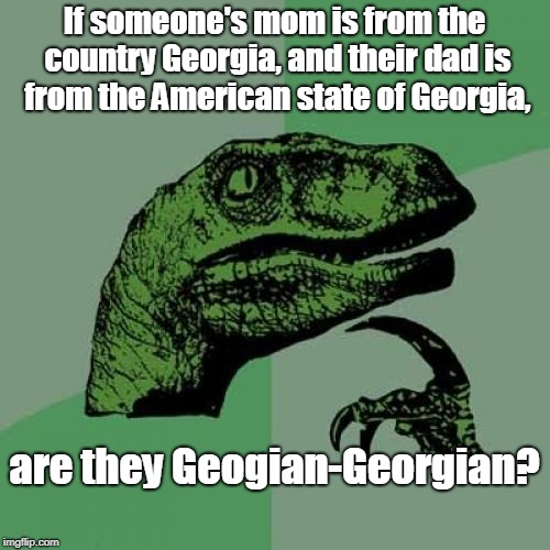 Philosoraptor Meme | If someone's mom is from the country Georgia, and their dad is from the American state of Georgia, are they Geogian-Georgian? | made w/ Imgflip meme maker
