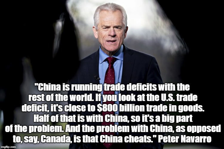 """China is running trade deficits with the rest of the world. If you look at the U.S. trade deficit, it's close to $800 billion trade in good 
