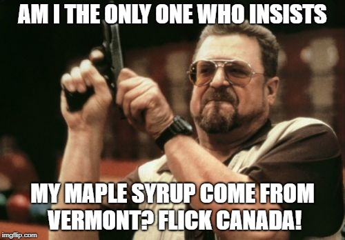 Am I The Only One Around Here Meme | AM I THE ONLY ONE WHO INSISTS MY MAPLE SYRUP COME FROM VERMONT? FLICK CANADA! | image tagged in memes,am i the only one around here | made w/ Imgflip meme maker