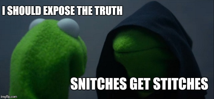Evil Kermit Meme | I SHOULD EXPOSE THE TRUTH SNITCHES GET STITCHES | image tagged in memes,evil kermit | made w/ Imgflip meme maker
