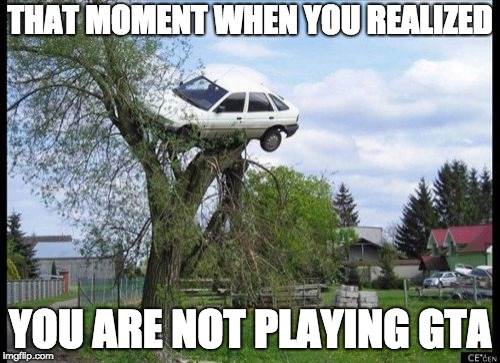 Secure Parking Meme | THAT MOMENT WHEN YOU REALIZED YOU ARE NOT PLAYING GTA | image tagged in memes,secure parking | made w/ Imgflip meme maker