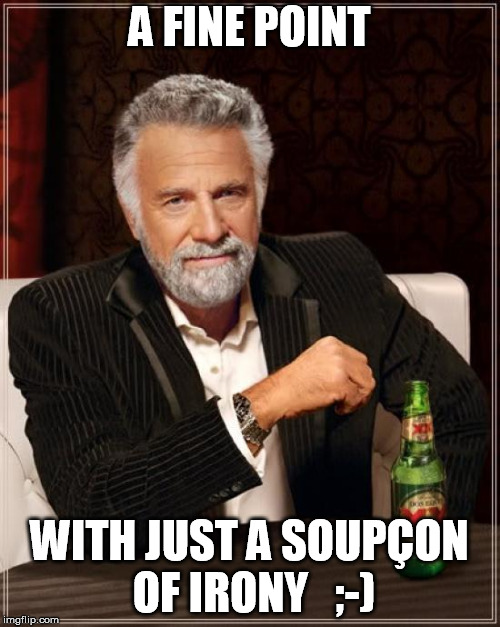 The Most Interesting Man In The World Meme | A FINE POINT WITH JUST A SOUPÇON OF IRONY   ;-) | image tagged in memes,the most interesting man in the world | made w/ Imgflip meme maker