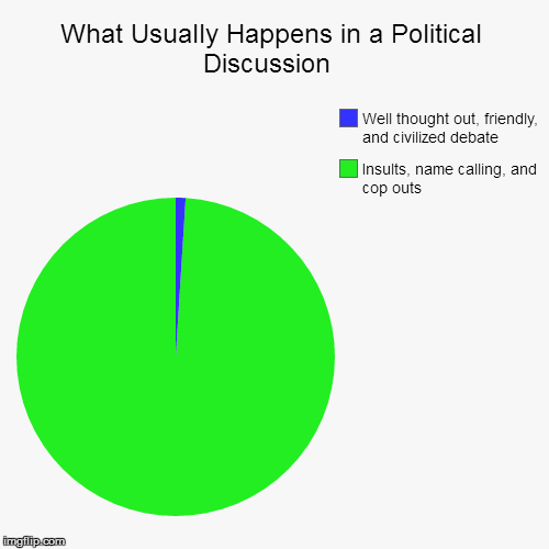 What Usually Happens in a Political Discussion  | Insults, name calling, and cop outs, Well thought out, friendly, and civilized debate | image tagged in funny,pie charts | made w/ Imgflip pie chart maker