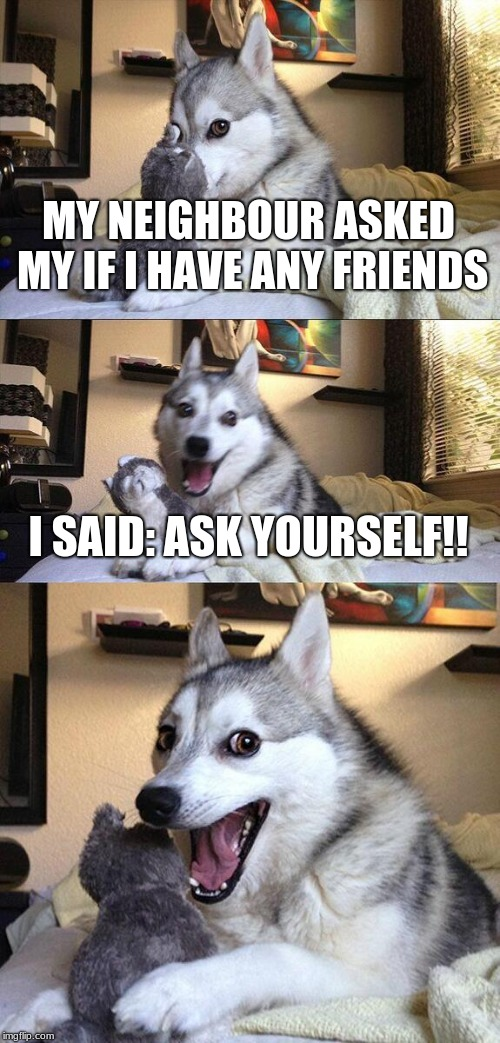 neighbour got smashed | MY NEIGHBOUR ASKED MY IF I HAVE ANY FRIENDS I SAID: ASK YOURSELF!! | image tagged in memes,bad pun dog,views,upvotes,comments,troll smasher | made w/ Imgflip meme maker